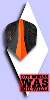 Neu im Juli - Harrows Retina - 100 Mikron Standard Flights - Schwarz/Transparent Orange