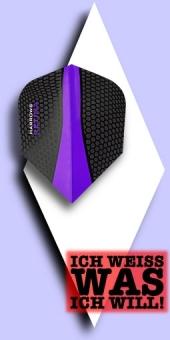 Neu im Juli - Harrows Retina - 100 Mikron Standard Flights - Schwarz/Transparent Violett