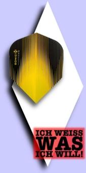 Neu im Oktober - Harrows Sonic - 100 Mikron Standard Flights No.6 - Metallic Schwarz/Gelb