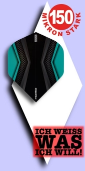 Neu im Mai - Pentathlon HD 150 Mikron Standard Flights - 2-farbig - Schwarz/Aqua