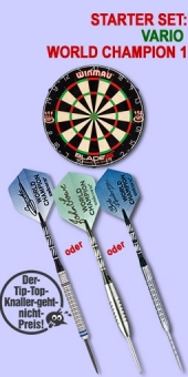 Vario Starter Set 'World Champion 1' Steel Tip Darts + Blade 4 Bristle Dart Board