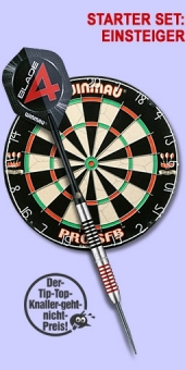 Starter Set 'Einsteiger' Ton Machine Steel Darts + Pro SFB Bristle Dart Board