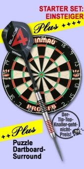 Starter Set 'Einsteiger Plus' Ton Machine Steel Darts + Pro SFB Bristle Dart Board + Puzzle Dartboard-Surround