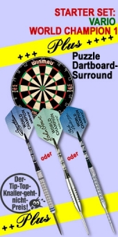Vario Starter Set 'World Champion 1 Plus' Steel Tip Darts + Blade 4 Bristle Dart Board + Puzzle Dartboard-Surround