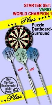 Vario Starter Set 'World Champion 1 Plus' Steel Tip Darts + Blade 4 Bristle Dart Board + Puzzle Dartboard-Surround