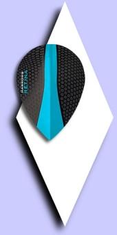 Harrows Retina - 100 Mikron Pear Flights - Schwarz/Transparent Blau