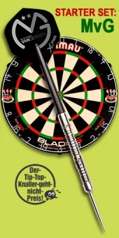 'Michael van Gerwen World Champion Starter Set' Steel Tip Darts + Blade 5 Bristle Dartboard