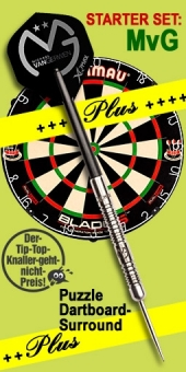 'Michael van Gerwen World Champion Starter Set Plus' Steel Tip Darts + Blade 5 Bristle Dartboard + Puzzle Dartboard-Surround