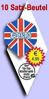Darter's Best bestes Angebot - Pentathlon Emblem - 100 Mikron Standard Flights - Union Jack - im 10-Satz-Beutel