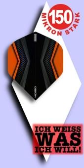Neu im Mai - Pentathlon HD 150 Mikron Standard Flights - 2-farbig - Schwarz/Orange