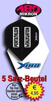 Darter's Best bestes Angebot - Pentathlon - X180 Standard Flights 180 Mikron - Schwarz im 5 Satz-Beutel
